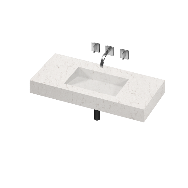 ARMONY 1 SINGLE BOWL ONE PIECE VANITY SINK SNOWY IBIZA COLOR