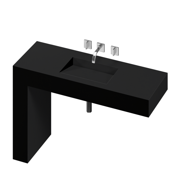 BALANCE 1 SINGLE BOWL ONE PIECE VANITY SINK ICONIC BLACK COLOR
