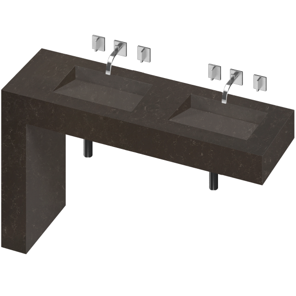 BALANCE 2 DOUBLE BOWL ONE PIECE VANITY SINK CALYPSO COLOR