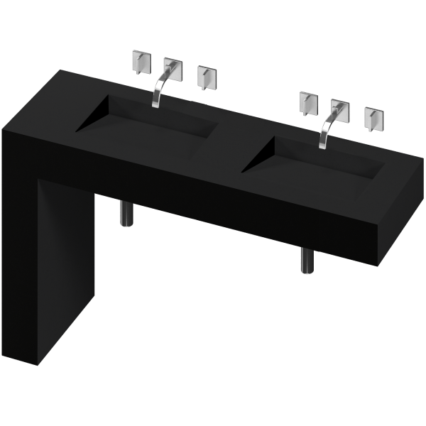 BALANCE 2 DOUBLE BOWL ONE PIECE VANITY SINK ICONIC BLACK COLOR