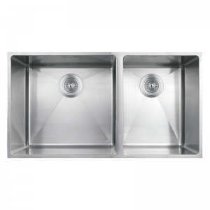 DOUBLE BOWL KITCHEN SINK WITH ROUNDED CORNERS
