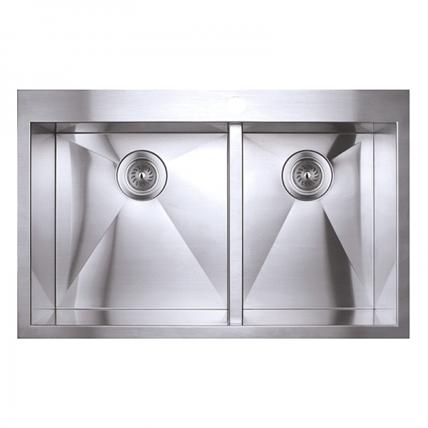 DOUBLE BOWL KITCHEN SINK WITH SQUARE CORNERS