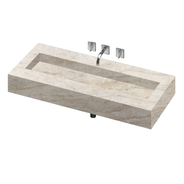 SILENCE 1200 DOUBLE BOWL ONE PIECE VANITY SINK ARGA COLOR