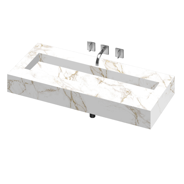 SILENCE 1200 DOUBLE BOWL ONE PIECE VANITY SINK ENTZO COLOR