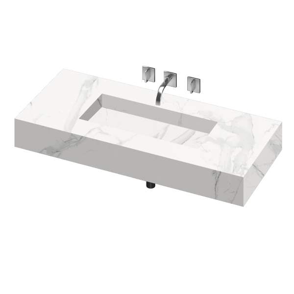 SILENCE 900 SINGLE BOWL ONE PIECE VANITY SINK NATURA COLOR